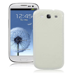 Carbon Fiber Skin Replacement Battery Cover with White Frame for Samsung Galaxy SIII / i9300(White)