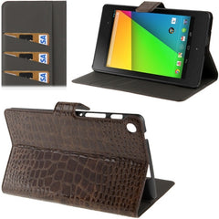 Crocodile Texture Flip Leather Case with Holder & Credit Card Slots for Google Nexus 7 (2013 Version) Coffee(Coffee)