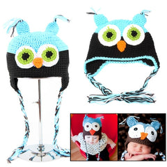 Owl Style Pure Hand-woven Wool Warm Baby Ear Hat (Baby + Black)