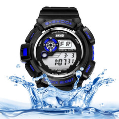 SKMEI Round Dial Alarm & Chronograph & Calendar & Colorful Back Light Function 5 ATM Waterproof Men Sport Digital Watch with PU Plastic Cement Band(Dark Blue)
