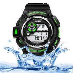 SKMEI Round Dial Alarm & Chronograph & Calendar & Colorful Back Light Function 5 ATM Waterproof Men Sport Digital Watch with PU Plastic Cement Band(Green)