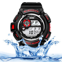 SKMEI Round Dial Alarm & Chronograph & Calendar & Colorful Back Light Function 5 ATM Waterproof Men Sport Digital Watch with PU Plastic Cement Band(Red)
