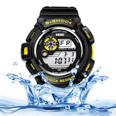 SKMEI Round Dial Alarm & Chronograph & Calendar & Colorful Back Light Function 5 ATM Waterproof Men Sport Digital Watch with PU Plastic Cement Band(Yellow)