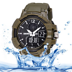 SKMEI Quartz + Digital Dual Movement 5 ATM Waterproof Round Dial Chronograph & Luminous Function Men Sport Watch with PU Plastic Cement Band(Army Green)
