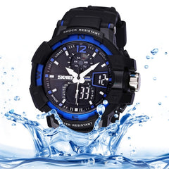 SKMEI Quartz + Digital Dual Movement 5 ATM Waterproof Round Dial Chronograph & Luminous Function Men Sport Watch with PU Plastic Cement Band(Dark Blue)