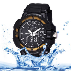 SKMEI Quartz + Digital Dual Movement 5 ATM Waterproof Round Dial Chronograph & Luminous Function Men Sport Watch with PU Plastic Cement Band(Gold)