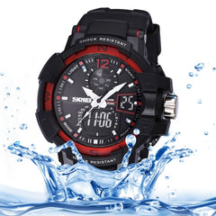 SKMEI Quartz + Digital Dual Movement 5 ATM Waterproof Round Dial Chronograph & Luminous Function Men Sport Watch with PU Plastic Cement Band(Red)