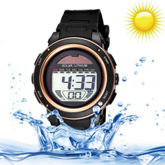 SKMEI 5 ATM Waterproof Round Dial Alarm & Week Display & Chronograph & Luminous Function Unisex Solar Digital Watch with PU Plastic Cement Band(Gold)
