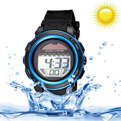 SKMEI 5 ATM Waterproof Round Dial Alarm & Week Display & Chronograph & Luminous Function Unisex Solar Digital Watch with PU Plastic Cement Band(Blue)