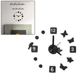 Novelty DIY Modern Art Design Wall Clock Timepiece with Foam Butterfly & Bird Markers Home Decor