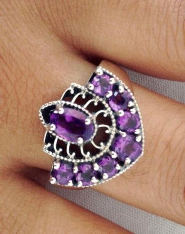 Vintage inspired 1.3ct Natural Amethyst Ring