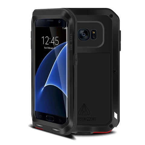 LOVE MEI for Samsung Galaxy S7 Edge / G935 Professional and Powerful Dustproof Shockproof Anti-slip Metal Protective Case(Black)