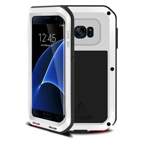 LOVE MEI for Samsung Galaxy S7 Edge / G935 Professional and Powerful Dustproof Shockproof Anti-slip Metal Protective Case(White)