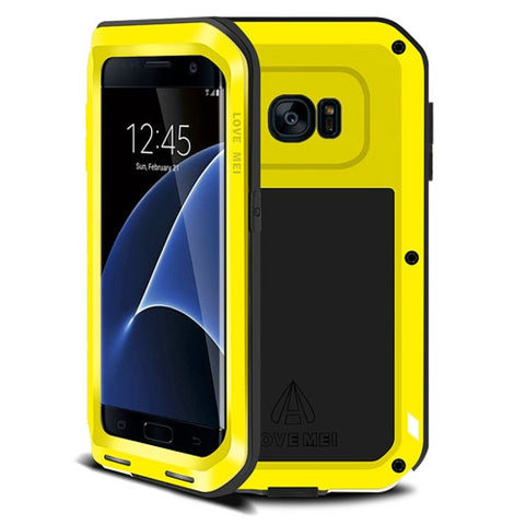 LOVE MEI for Samsung Galaxy S7 Edge / G935 Professional and Powerful Dustproof Shockproof Anti-slip Metal Protective Case(Yellow)