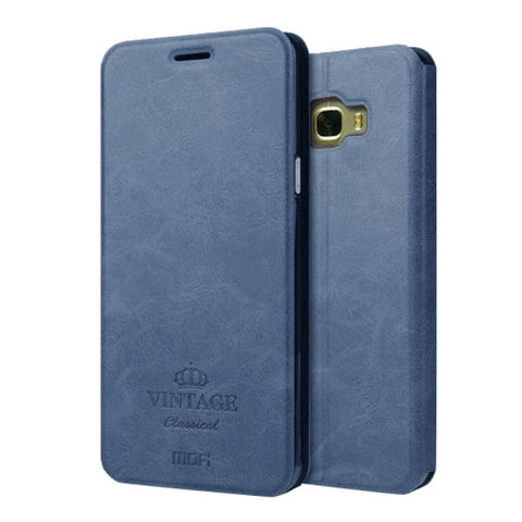 MOFI VINTAGE for Samsung Galaxy C7 / C700 Crazy Horse Texture Horizontal Flip Leather Case with Card Slot & Holder(Dark Blue)