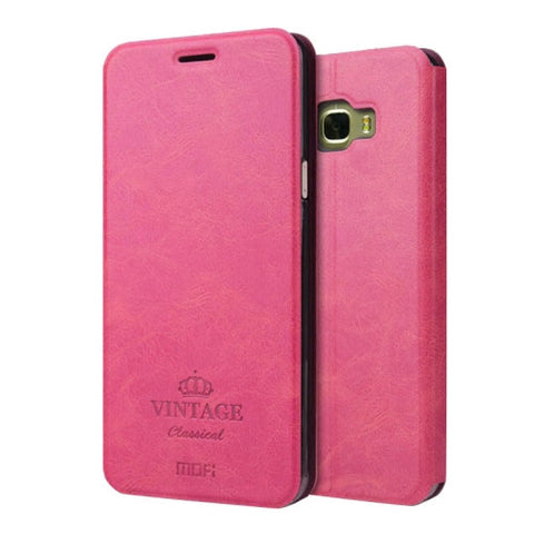 MOFI VINTAGE for Samsung Galaxy C7 / C700 Crazy Horse Texture Horizontal Flip Leather Case with Card Slot & Holder(Magenta)