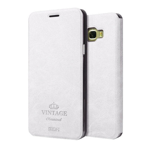 MOFI VINTAGE for Samsung Galaxy C7 / C700 Crazy Horse Texture Horizontal Flip Leather Case with Card Slot & Holder(White)
