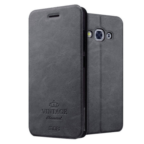 MOFI VINTAGE for Samsung Galaxy J3 Pro / J311 Crazy Horse Texture Horizontal Flip Leather Case with Card Slot & Holder(Black)