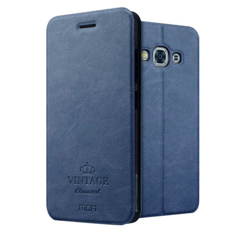 MOFI VINTAGE for Samsung Galaxy J3 Pro / J311 Crazy Horse Texture Horizontal Flip Leather Case with Card Slot & Holder(Dark Blue)