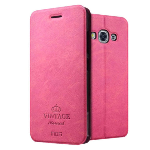 MOFI VINTAGE for Samsung Galaxy J3 Pro / J311 Crazy Horse Texture Horizontal Flip Leather Case with Card Slot & Holder(Magenta)