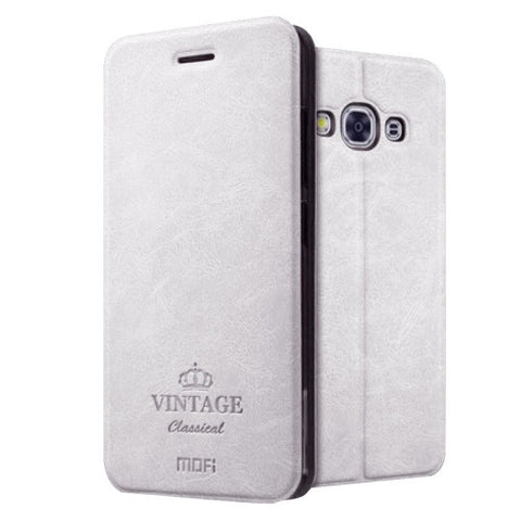 MOFI VINTAGE for Samsung Galaxy J3 Pro / J311 Crazy Horse Texture Horizontal Flip Leather Case with Card Slot & Holder(White)