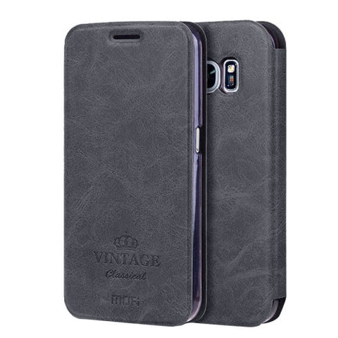 MOFI VINTAGE for Samsung Galaxy S7 / G930 Crazy Horse Texture Horizontal Flip Leather Case with Card Slot & Holder(Black)