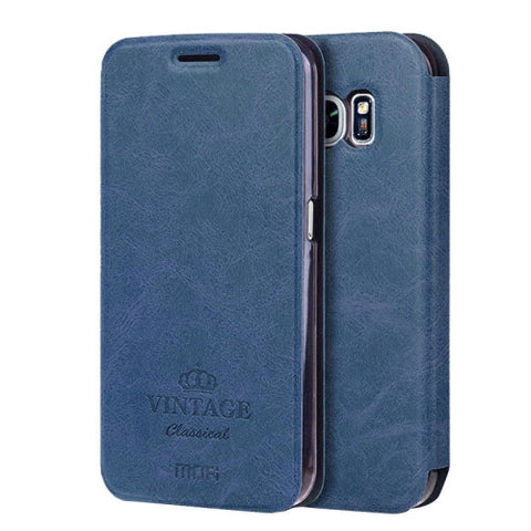 MOFI VINTAGE for Samsung Galaxy S7 / G930 Crazy Horse Texture Horizontal Flip Leather Case with Card Slot & Holder(Dark Blue)