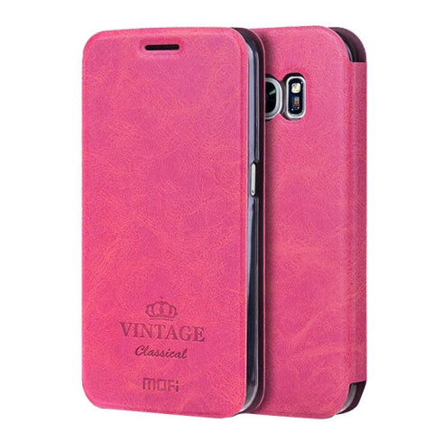 MOFI VINTAGE for Samsung Galaxy S7 / G930 Crazy Horse Texture Horizontal Flip Leather Case with Card Slot & Holder(Magenta)