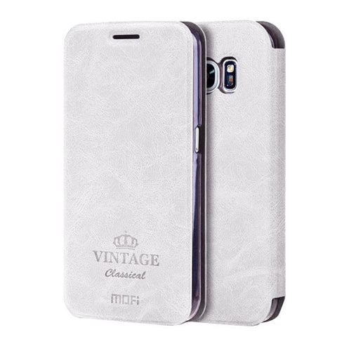 MOFI VINTAGE for Samsung Galaxy S7 / G930 Crazy Horse Texture Horizontal Flip Leather Case with Card Slot & Holder(White)