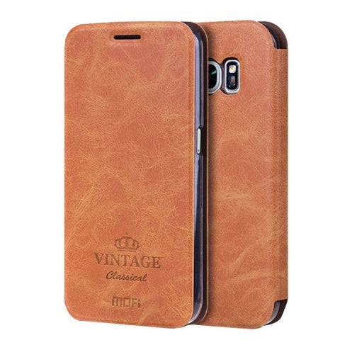 MOFI VINTAGE for Samsung Galaxy S7 / G930 Crazy Horse Texture Horizontal Flip Leather Case with Card Slot & Holder(Brown)