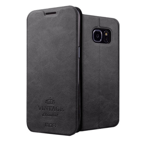 MOFI VINTAGE for Samsung Galaxy S7 Edge / G935 Crazy Horse Texture Horizontal Flip Leather Case with Card Slot & Holder(Black)