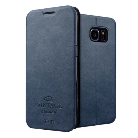 MOFI VINTAGE for Samsung Galaxy S7 Edge / G935 Crazy Horse Texture Horizontal Flip Leather Case with Card Slot & Holder(Dark Blue)