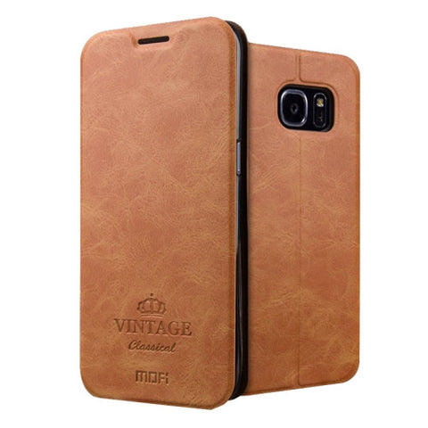 MOFI VINTAGE for Samsung Galaxy S7 Edge / G935 Crazy Horse Texture Horizontal Flip Leather Case with Card Slot & Holder(Brown)
