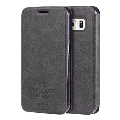 MOFI VINTAGE for Samsung Galaxy S6 / G920 Crazy Horse Texture Horizontal Flip Leather Case with Card Slot & Holder(Black)