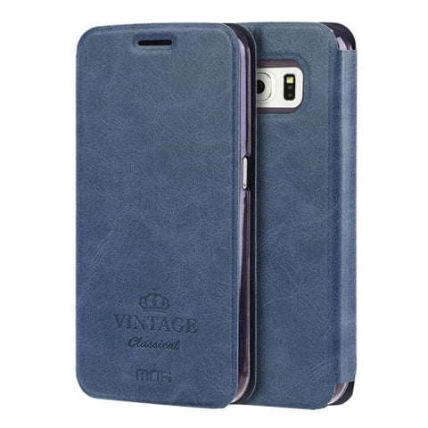 MOFI VINTAGE for Samsung Galaxy S6 / G920 Crazy Horse Texture Horizontal Flip Leather Case with Card Slot & Holder(Dark Blue)