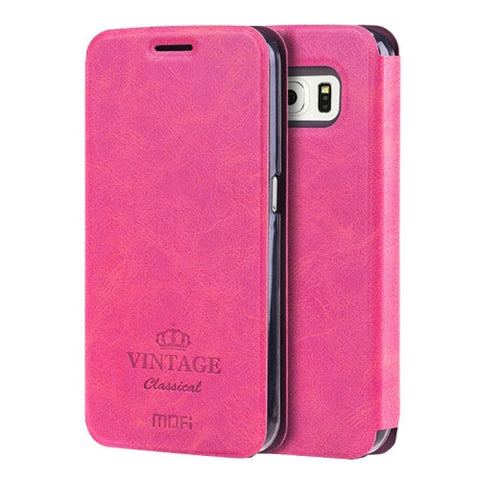 MOFI VINTAGE for Samsung Galaxy S6 / G920 Crazy Horse Texture Horizontal Flip Leather Case with Card Slot & Holder(Magenta)