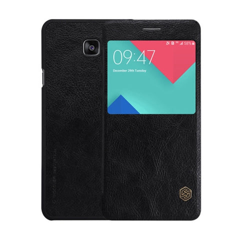 NILLKIN QIN Series for Samsung Galaxy A9 / A900 Business Style Horizontal Flip Leather Case with Call Display ID(Black)