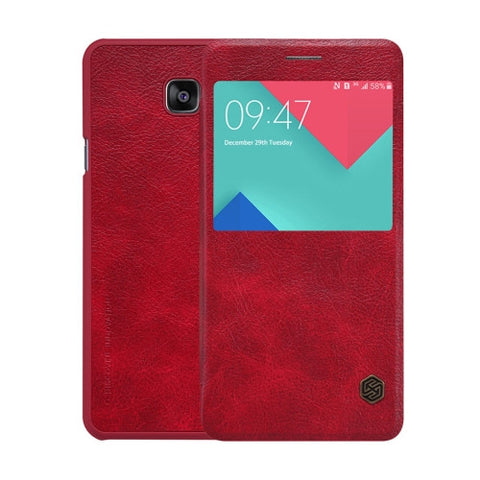 NILLKIN QIN Series for Samsung Galaxy A9 / A900 Business Style Horizontal Flip Leather Case with Call Display ID(Red)