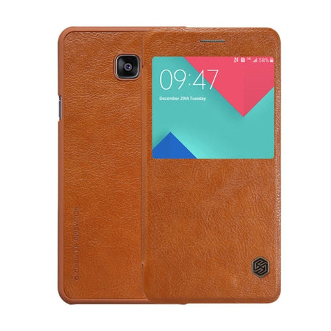 NILLKIN QIN Series for Samsung Galaxy A9 / A900 Business Style Horizontal Flip Leather Case with Call Display ID(Brown)