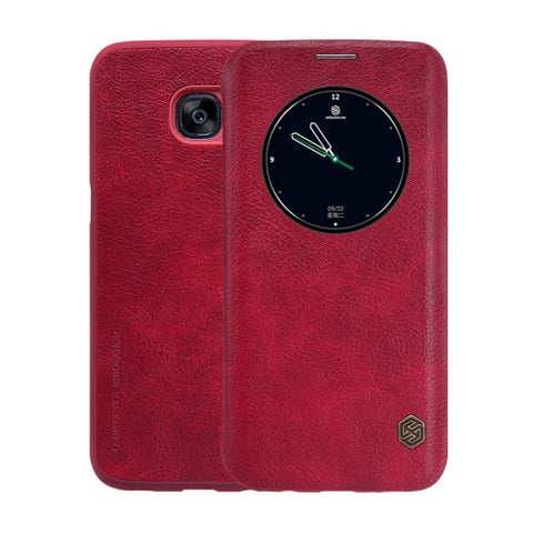 NILLKIN QIN Series for Samsung Galaxy S7 Edge / G935 Business Style Horizontal Flip Leather Case with Call Display ID & Sleep / Wake-up Function(Red)