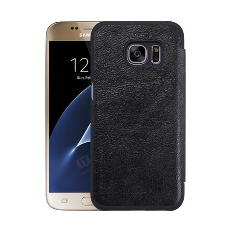 NILLKIN QIN Series For Samsung Galaxy S7 / G930 Business Style Horizontal Flip Leather Case with Card Slot(Black)
