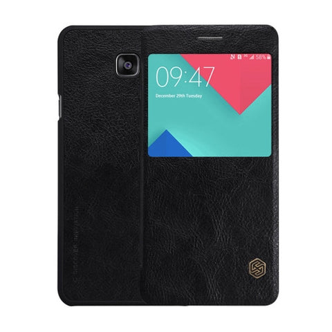 NILLKIN QIN Series for Samsung Galaxy A5(2016) / A510 Business Style Horizontal Flip Leather Case with Call Display ID(Black)