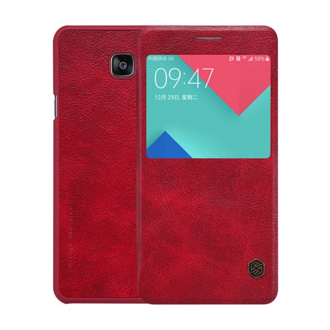 NILLKIN QIN Series for Samsung Galaxy A5(2016) / A510 Business Style Horizontal Flip Leather Case with Call Display ID(Red)
