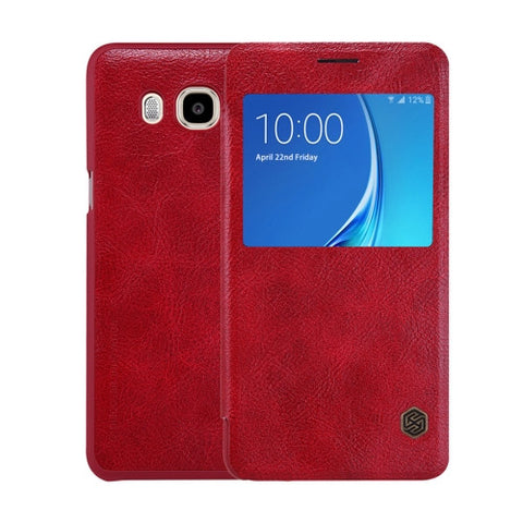 NILLKIN QIN Series for Samsung Galaxy J5(2016) / J510 Business Style Horizontal Flip Leather Case with Call Display ID(Red)