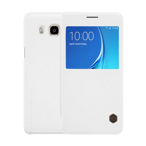 NILLKIN QIN Series for Samsung Galaxy J7(2016) / J710 Business Style Horizontal Flip Leather Case with Call Display ID(White)