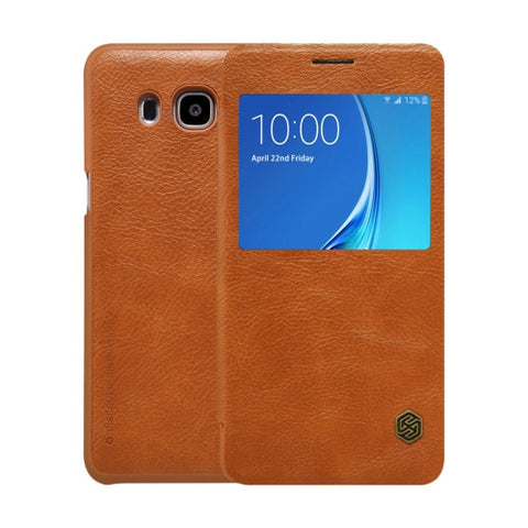 NILLKIN QIN Series for Samsung Galaxy J7(2016) / J710 Business Style Horizontal Flip Leather Case with Call Display ID(Brown)