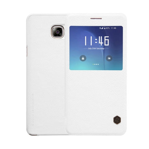 NILLKIN QIN Series for Samsung Galaxy Note 5 / N920 Business Style Horizontal Flip Leather Case with Call Display ID & Sleep / Wake-up Function(White)