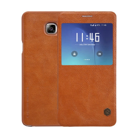 NILLKIN QIN Series for Samsung Galaxy Note 5 / N920 Business Style Horizontal Flip Leather Case with Call Display ID & Sleep / Wake-up Function(Brown)