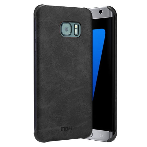 MOFI for Samsung Galaxy S7 Edge / G935 Crazy Horse Texture Leather Surface PC Protective Case Back Cover(Black)