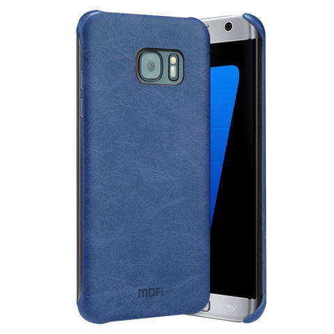 MOFI for Samsung Galaxy S7 Edge / G935 Crazy Horse Texture Leather Surface PC Protective Case Back Cover(Dark Blue)